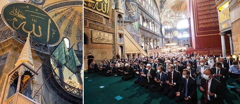 ayasofya camii acildi tarihi gune sahitlik ettik